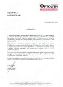 Referencje Optolith Hufgard Bauprodukte Polska Sp zo. o.